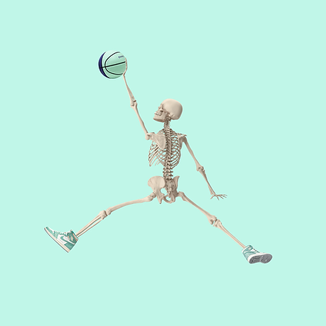 skeleton jumping in the air with a basketball
