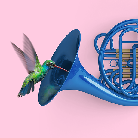 Hummingbird with a French horn.