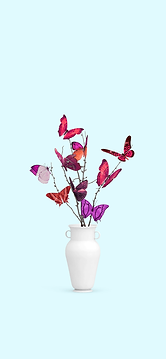 Vase with butterfly flowers.