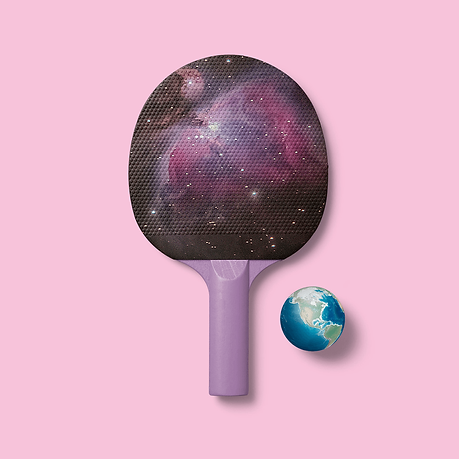 Ping Pong racquet with space theme.