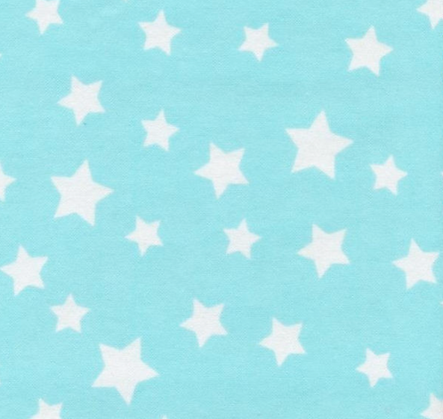 Stars on Flannel - Turquoise/White
