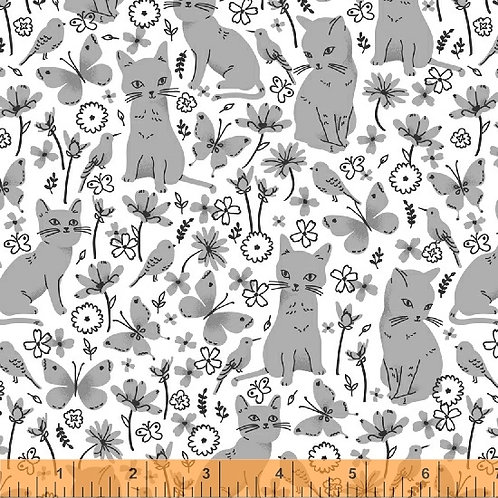 Kitty Kitty by Whistler for Windham Fabrics - Cats in Garden - 51684-1 White