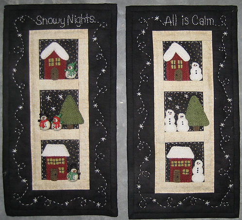 "Snowy Nights Wall Hanging Pattern - 5.5"" x 10.5"" (with buttons)"