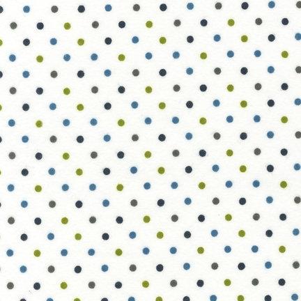 Cozy Cotton Flannel - Dots - Marine