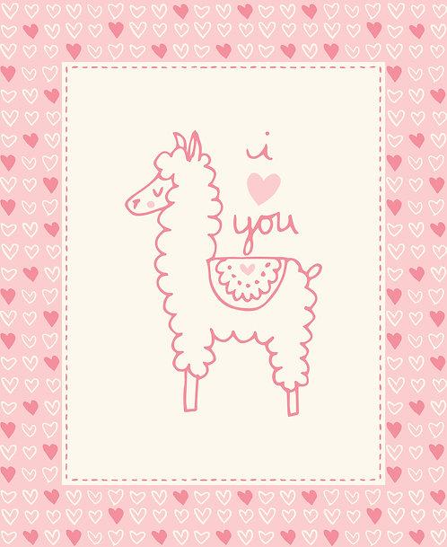 Soft & Sweet Flannel - Llama Panel - Pink