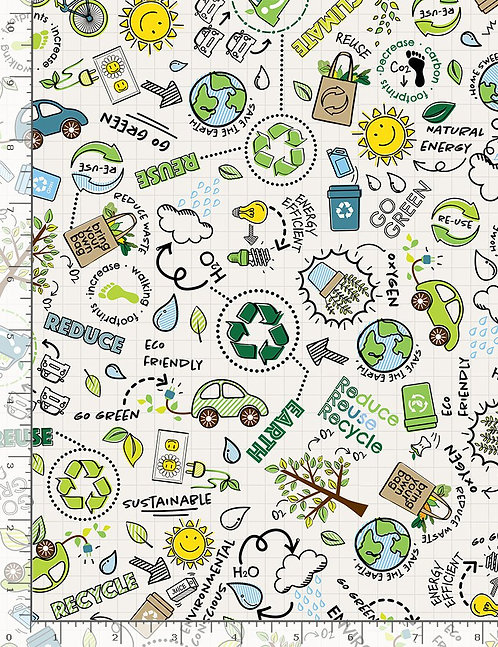 Go Green Reduce Reuse Recycle - Timeless Treasures - White C8418