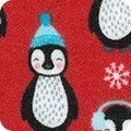 Bundled Buddies Flannel - Penguins on Red