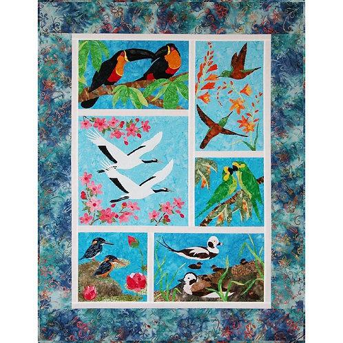 """Endangered Birds Quilt BOM Full Kit w/Binding by Shania Sunga (38.5""""x49.5"""")"""