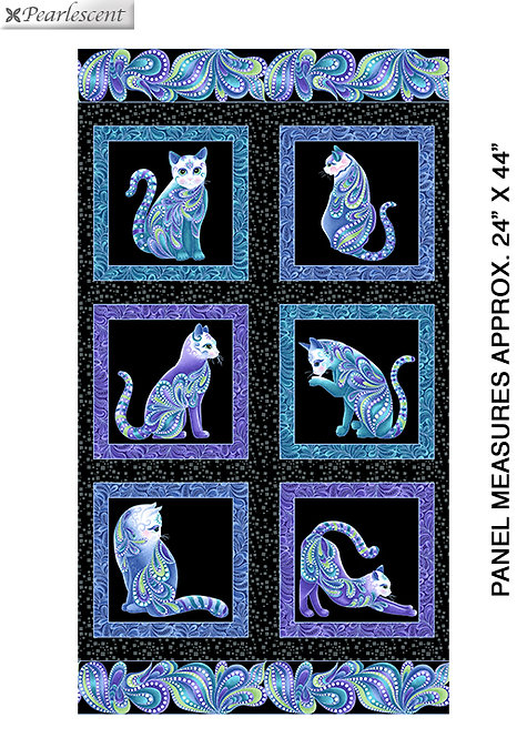 Catitude Singing the Blues by Ann Lauer - PANEL - Black/Mult 10260P-12