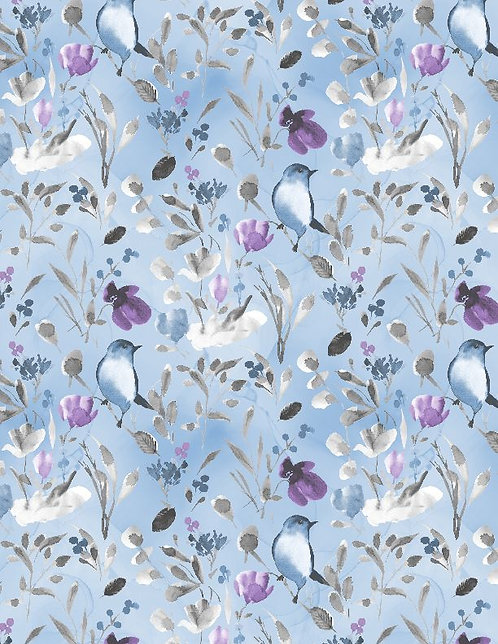 Awakenings by Wilmington Prints - Birds Branches Blue - 3039-13404-494