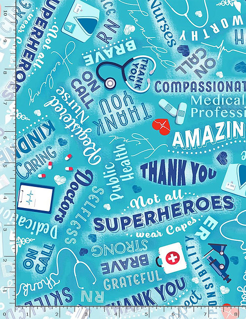 Thanks - Everyday Heroes by Timeless Treasures - Aqua - C8419