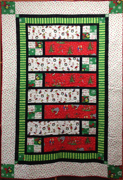"A Grinchy Christmas Quilt - 49.5"" x 75.5"""
