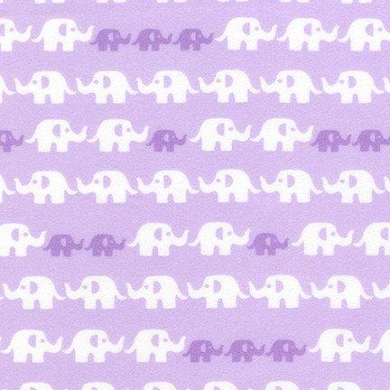 Cozy Cotton Flannel - Elephants - Lavender