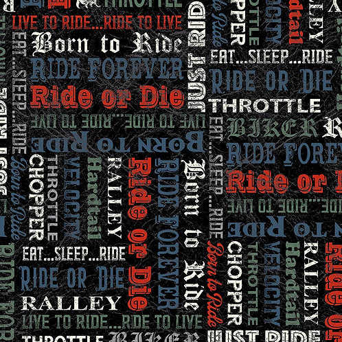 Born to Ride by Windham Fabrics - 52243 3-Black Words