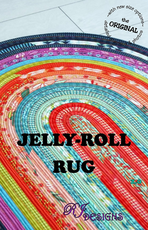 """Jelly Roll Rug PATTERN (Oval) 30"""" x 44"""" - RJD100"""
