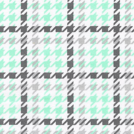 Cozy Cotton Flannel - Houndstooth - Mint