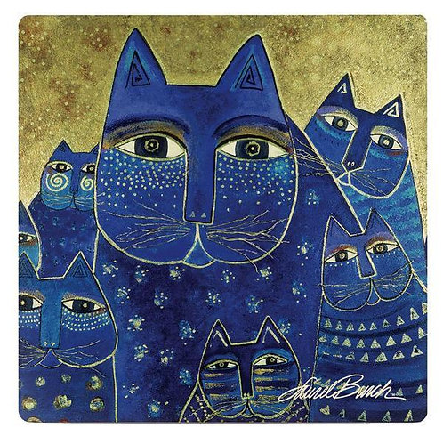 Laurel Burch Coasters by Monarque - Indigo Cat Family