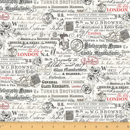 London - Text & Stamps by Windham Fabrics - Ivory 52344-1