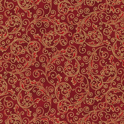 Holiday Flourish Metallic 13 by R. Kaufman - Red/Gold - 19255-3