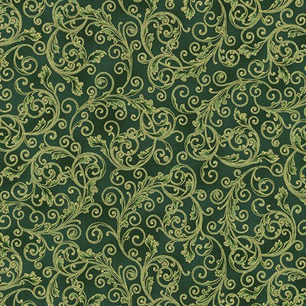Holiday Flourish Metallic 13 by R. Kaufman - Green Scroll - 19255-7