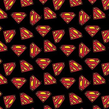 Superman Logo on Black - Camelot Fabrics - 23400704-05 Black