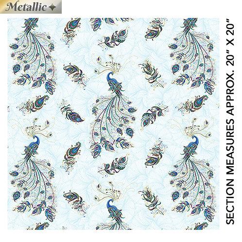 Peacock Flourish by Ann Lauer for Benartex - Lt Teal/Multi 10227M-80