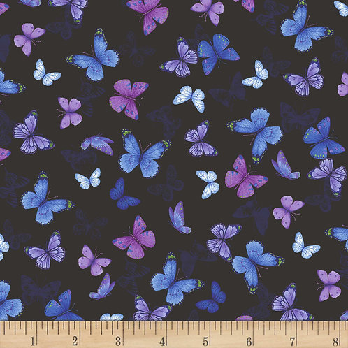 Pansy Paradise by Timeless Treasures - Butterflies - C7726-Black
