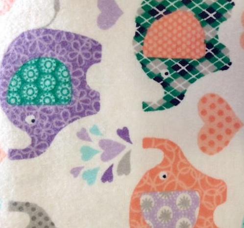 Elephants on Flannel - White