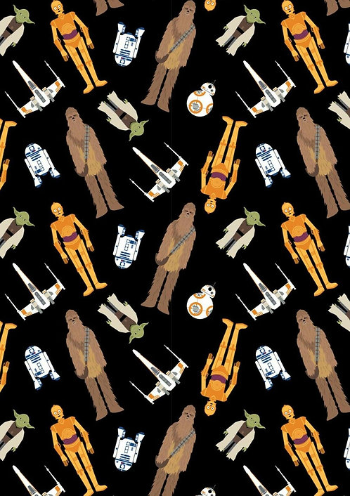 Star Wars - Tossed in Space - Camelot Fabrics - 730111064-02 Black