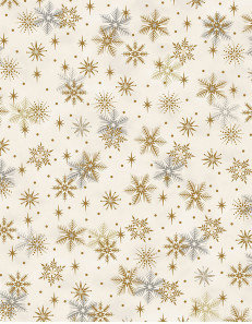Christmas Magic by Stoff- Gold Snowflakes on Cream 4597-127