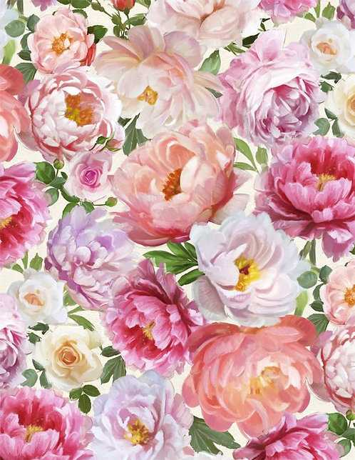 Flower Study by Machael Davis for Wilmington - Packed Floral Cream 96455-137