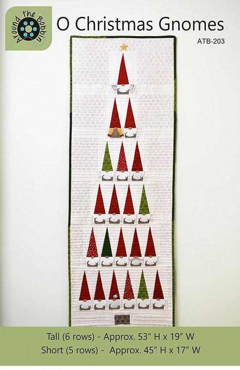 "O Christmas Gnomes Wallhanging Kit - w/Binding (Small Tree) 16.5"" x 45"""