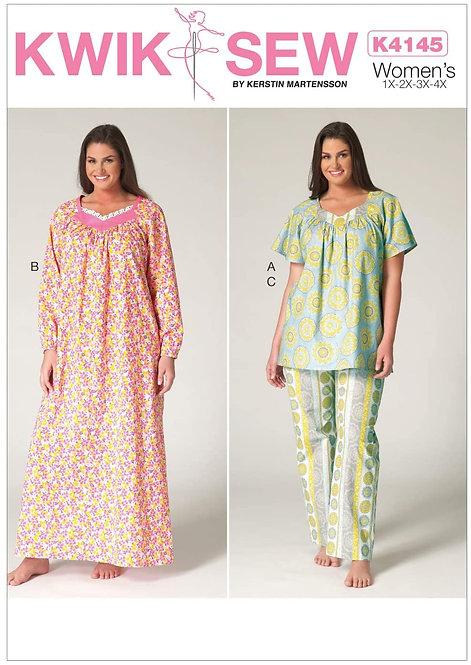 Kwik Sew Nightgown & Pants Pattern - Plus Size (K4145)