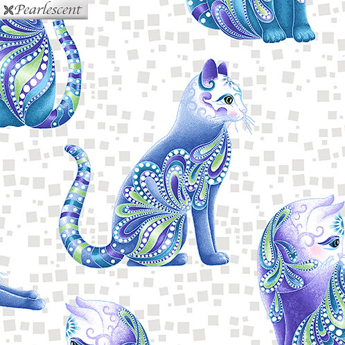 Catitude Singing the Blues by Ann Lauer - White/Multi 10262P-9