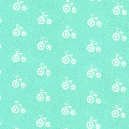 Cozy Cotton Flannel - Bicycle - Seafoam