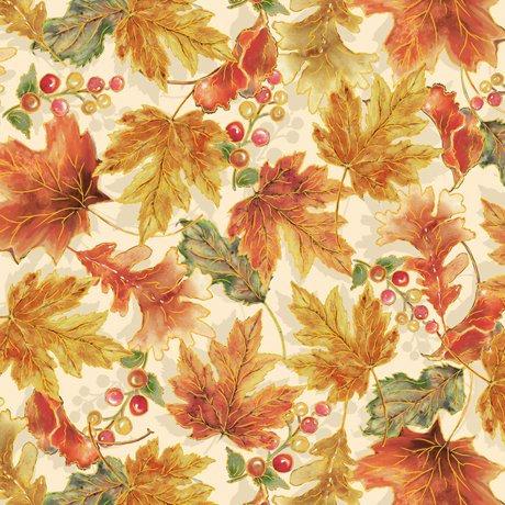 Harvest Elegance - QT Fabrics Leaves on Cream 27671-E