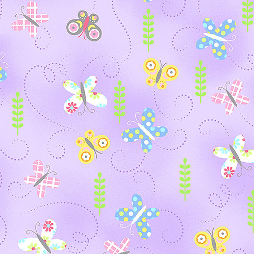 Hippity Hoppity - Benartex - Springtime Butterflies Lilac - 19763-06