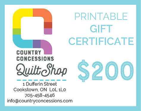 Gift Certificate $200 (printable)