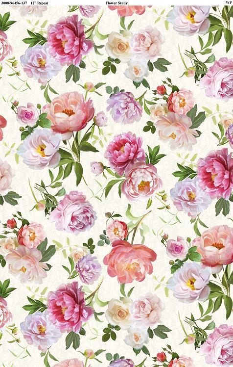 Flower Study by Machael Davis for Wilmington - Flowers Cream 96456-137