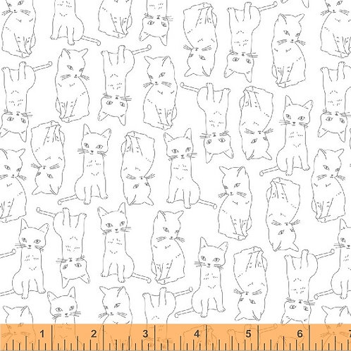 Kitty Kitty by Whistler for Windham Fabrics - Kitty Cats - 51687-1 White