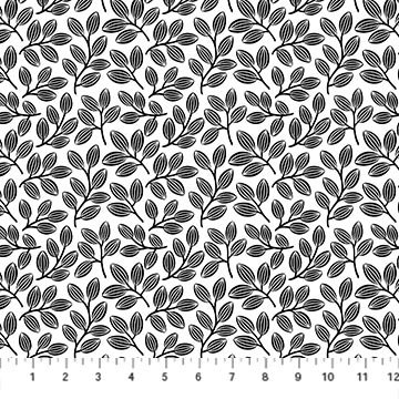 Simply Neutral 2 by Northcott - Small Leaf Black on White 23914-99