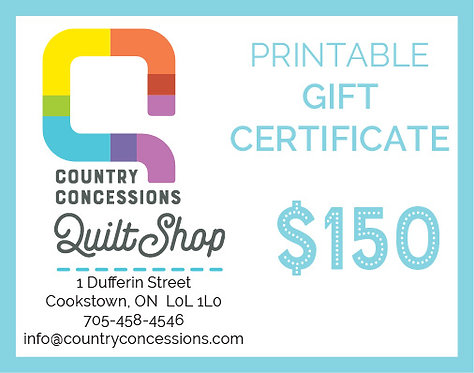 Gift Certificate $150 (printable)