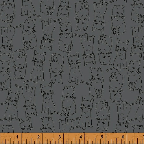 Kitty Kitty by Whistler for Windham Fabrics - Kitty Cats - 51687-4 Charcoal