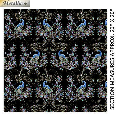 Peacock Flourish by Ann Lauer for Benartex - Black/Multi 10228M-12
