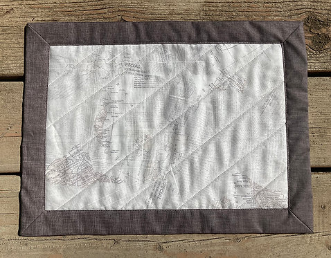 """Easy Mitered Placemats - Beige Newsprint (16"""" x 12"""") Makes 2"""