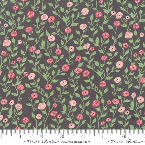 Bloomington by Lella Boutique for Moda - Sm Flowers - Charcoal 5112-13