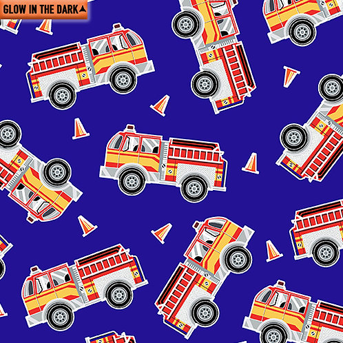Save the Day - Benartex - Fire Engines Blue - 19737GL-55