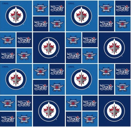 NHL Cotton - Winnipeg Jets - Logos on Blue