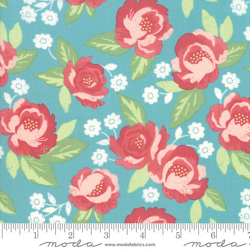 Bloomington by Lella Boutique for Moda - Lg Flowers - Teal 5110-16