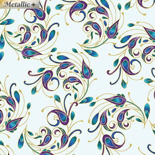 Peacock Flourish by Ann Lauer for Benertex -  Lt Teal/Multi 10233M-80